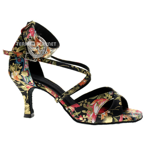 Black & Multi-Colour Flower Pattern Women Dance Shoes D1080