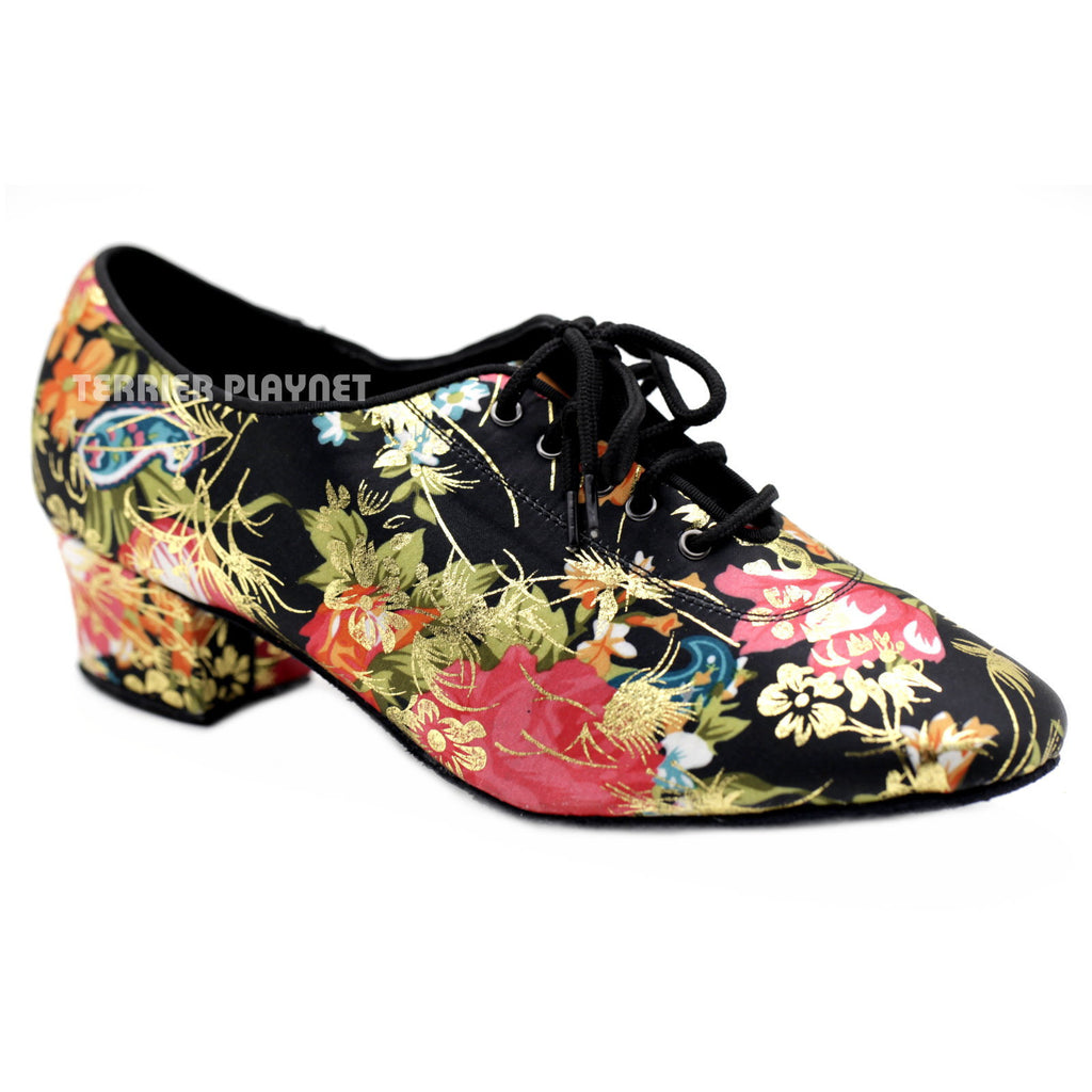 Black & Multi-Colour Flower Pattern Women Dance Shoes D1084 UK5.5/US8/EU39 2 Inches/ 5cm Heel - Terrier Playnet Shop