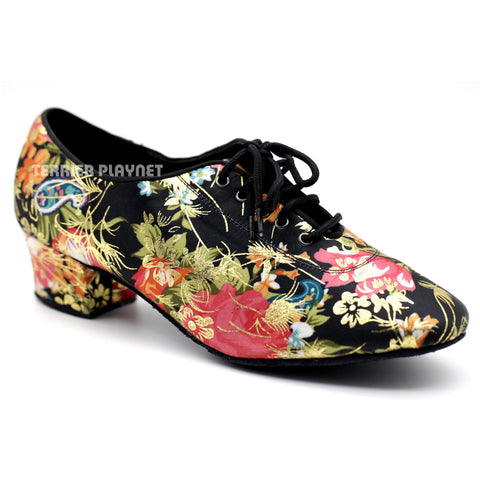 Black & Multi-Colour Flower Pattern Women Dance Shoes D1084