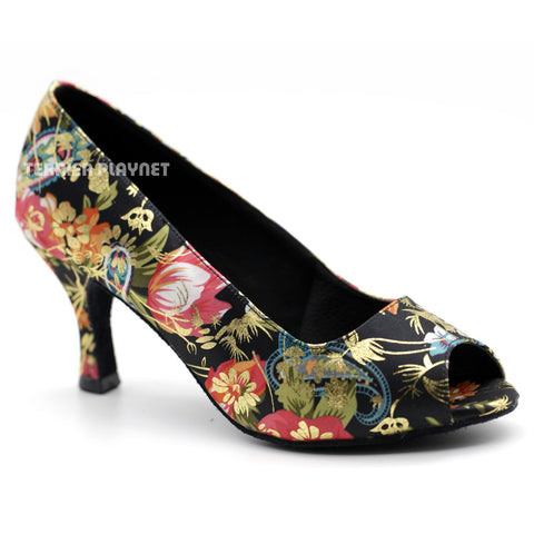 Black & Multi-Colour Flower Pattern Women Dance Shoes D1086