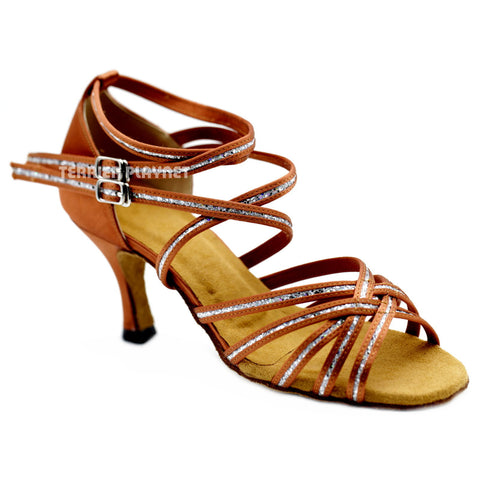 Dark Tan & Silver Women Dance Shoes D1087