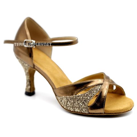 Bronze & Browm Women Dance Shoes D1091 UK5/US7.5/EU38 3 Inches/7.5cm Heel