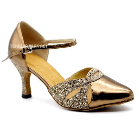 Bronze & Brown Women Dance Shoes D1092