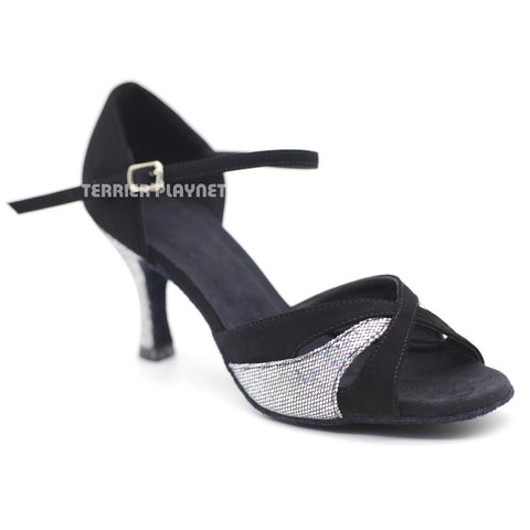Black & Silver Women Dance Shoes D1095 UK5/US7.5/EU38 3 Inches/7.5cm Heel