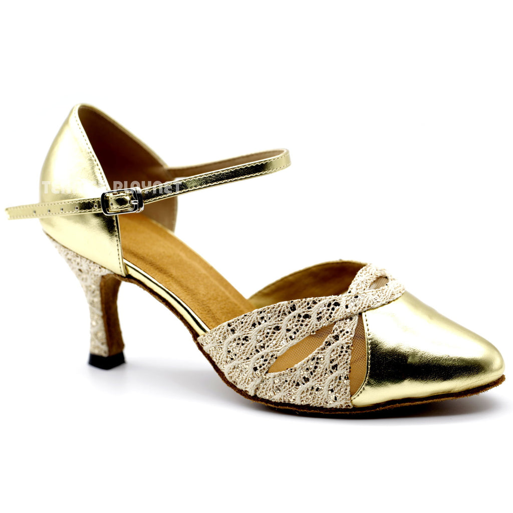 Gold Women Dance Shoes D1099 UK5/US7.5/EU38 3 Inches/7.5cm Heel - Terrier Playnet Shop