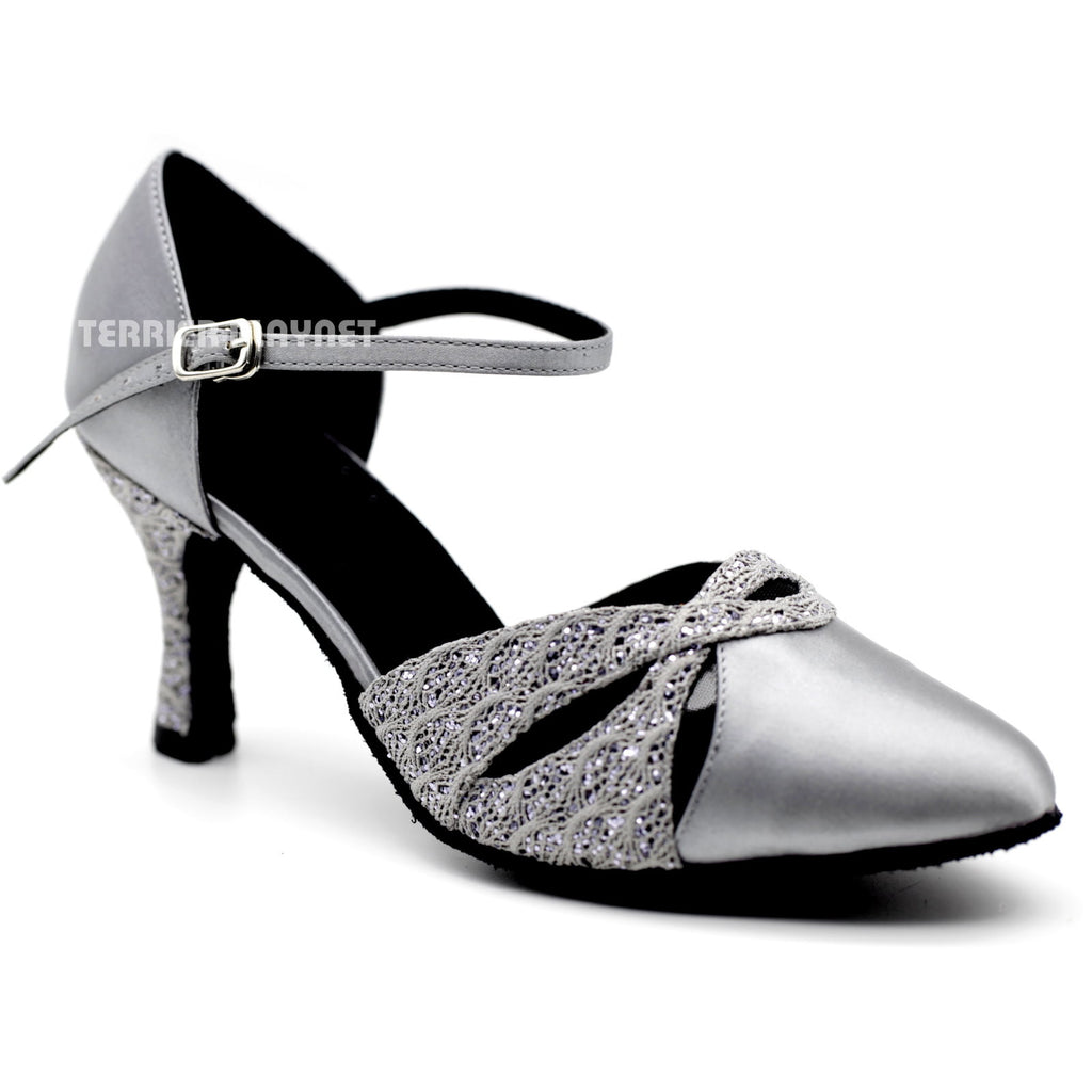 Silver Gray Women Dance Shoes D1100 UK5/US7.5/EU38 3 Inches/7.5cm Heel