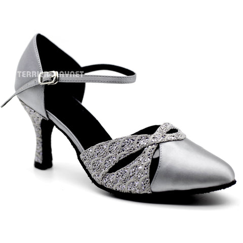 Silver Gray Women Dance Shoes D1100