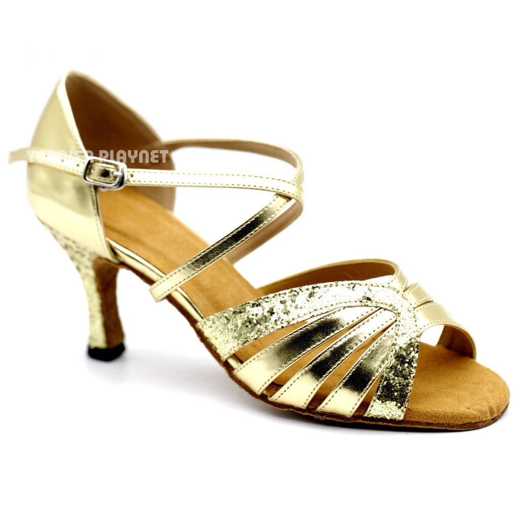Gold Women Dance Shoes D1101 - Terrier Playnet Shop