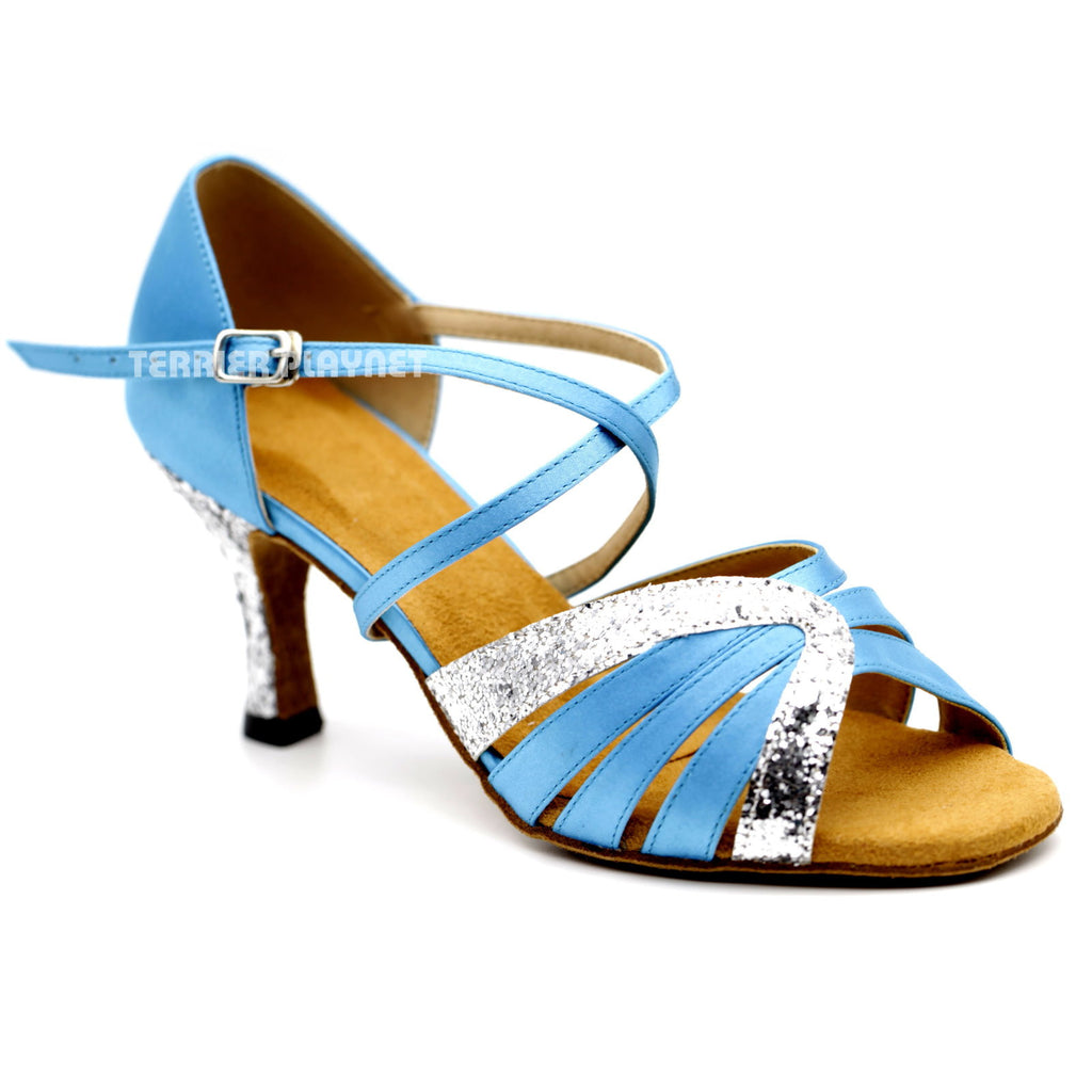 Light Blue & Silver Women Dance Shoes D1102 - Terrier Playnet Shop