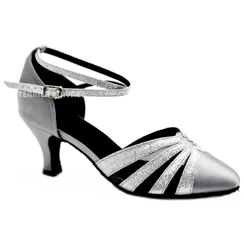 Silver Gray & Silver Women Dance Shoes D1105