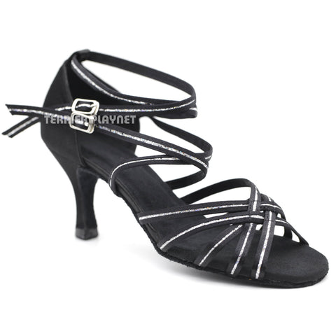 Black & Silver Women Dance Shoes D1114 UK5/US7.5/EU38 3 Inches/7.5cm Heel