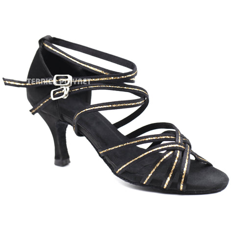 Black & Gold Women Dance Shoes D1115 UK5/US7.5/EU38 3 Inches/7.5cm Heel