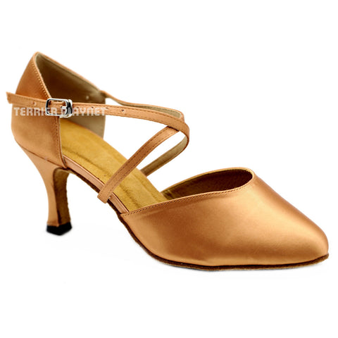 Tan Women Dance Shoes D1124W Wide UK7/US9.5/EU40.5 3 Inches / 7.5cm Heel