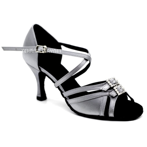 Silver Gray Women Dance Shoes D1125