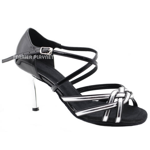 Black & Silver Women Dance Shoes D1133 UK5/US7.5/EU38 3.35 Inches/8.5cm Heel