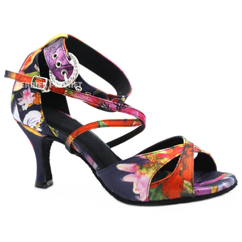Multi-Colour Flower Pattern Women Dance Shoes D1136