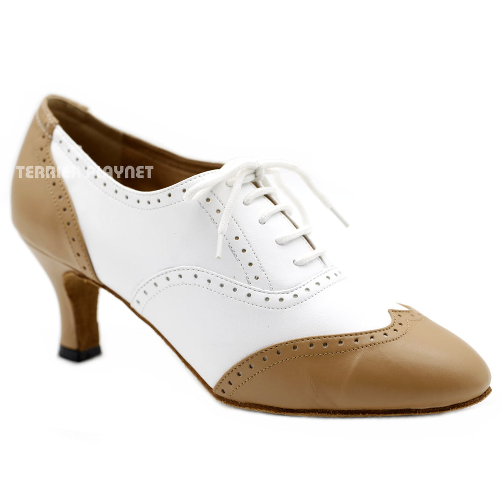 White & Tan Women Dance Shoes D1138W Wide UK6.5/US9/EU40 2.5 Inches/6.25cm Heel - Terrier Playnet Shop