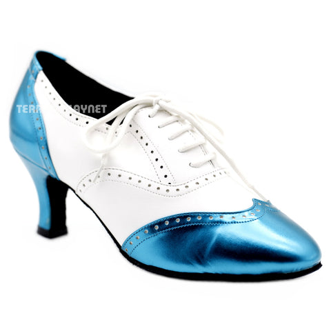 White & Light Blue Women Dance Shoes D1139W Wide UK4.5/US7/EU37.5 2.5 Inches/6.25cm Heel