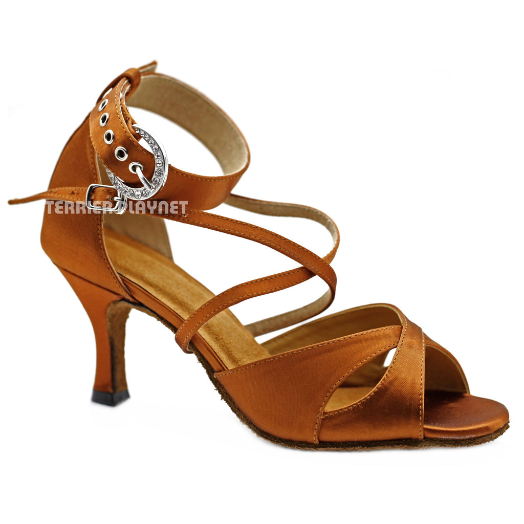 Bronze Women Dance Shoes D1140 UK5.5/US8/EU39 3 Inches/7.5cm Heel - Terrier Playnet Shop
