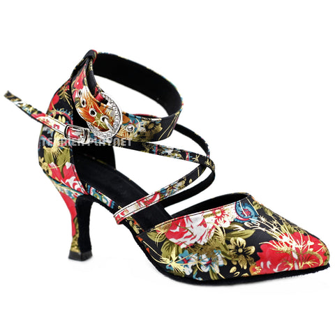 Black & Multi-Colour Flower Pattern Women Dance Shoes D1141