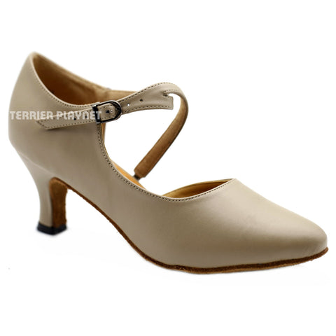 Light Brown Women Dance Shoes D1144 UK5.5/US8/EU39 2.5 Inches/6.25cm Heel