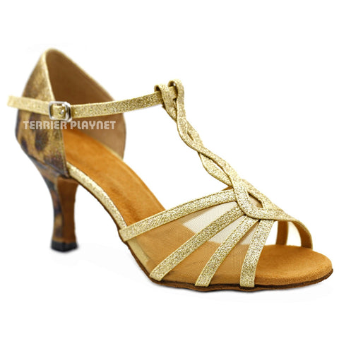 Gold & Multi-Colour Leopard Pattern Women Dance Shoes D1149 UK5.5/US8/EU39 3 Inches / 7.5cm Heel
