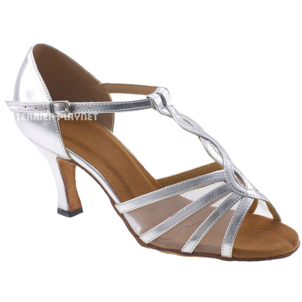 Silver Women Dance Shoes D114 UK3/US5.5/EU35.5 2 Inches/5cm Heel - Terrier Playnet Shop