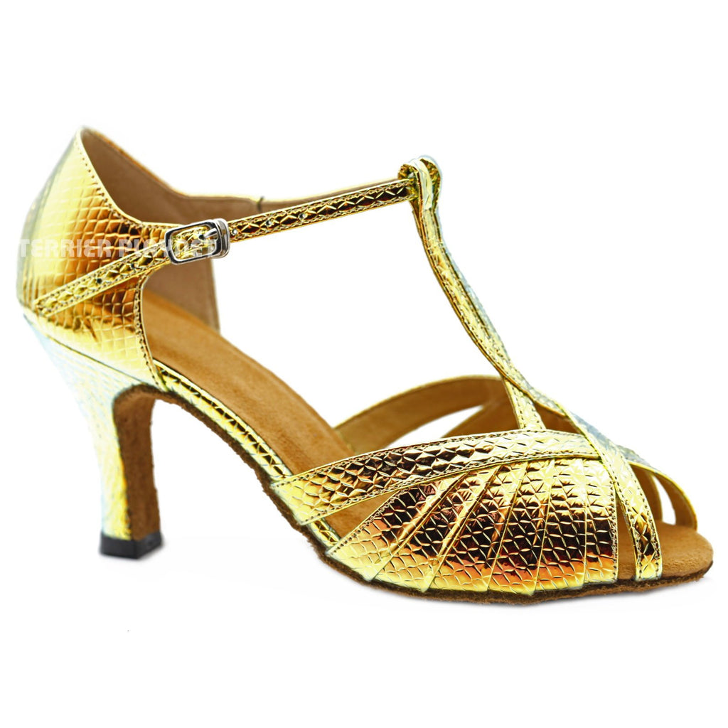 Gold & Multi-Colour Snake Skin Pattern Women Dance Shoes D1150 UK6/US8.5/EU39.5 3.25 Inches / 8.25cm Heel
