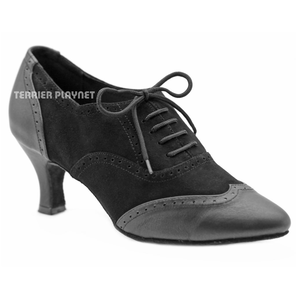 High Quality Black Leather Women Dance Shoes D1152 UK5.5/US8/EU39 2.5 Inches/6.25cm Heel