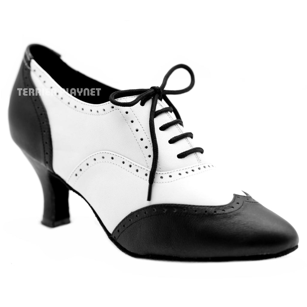 High Quality Black & White Leather Women Dance Shoes D1154 UK5.5/US8/EU39 2.5 Inches/6.25cm Heel