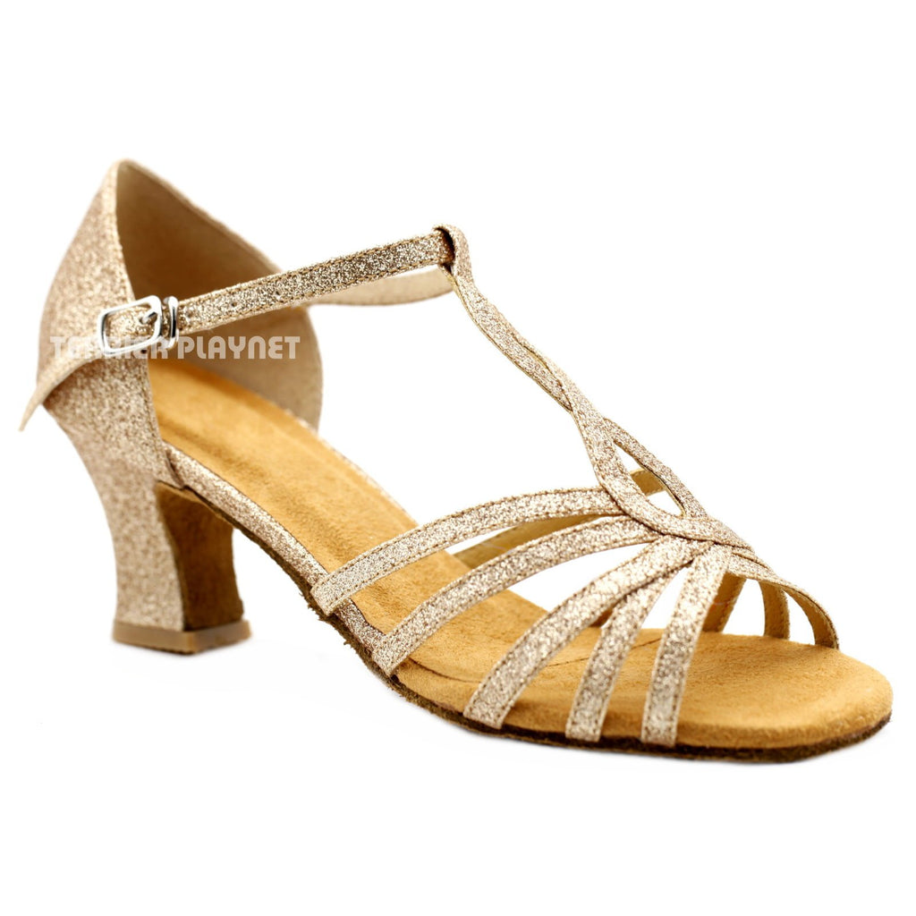 Gold Women Dance Shoes D1157 UK4.5/US7/EU37.5 2.5 Inches / 6.25cm  Block Heel