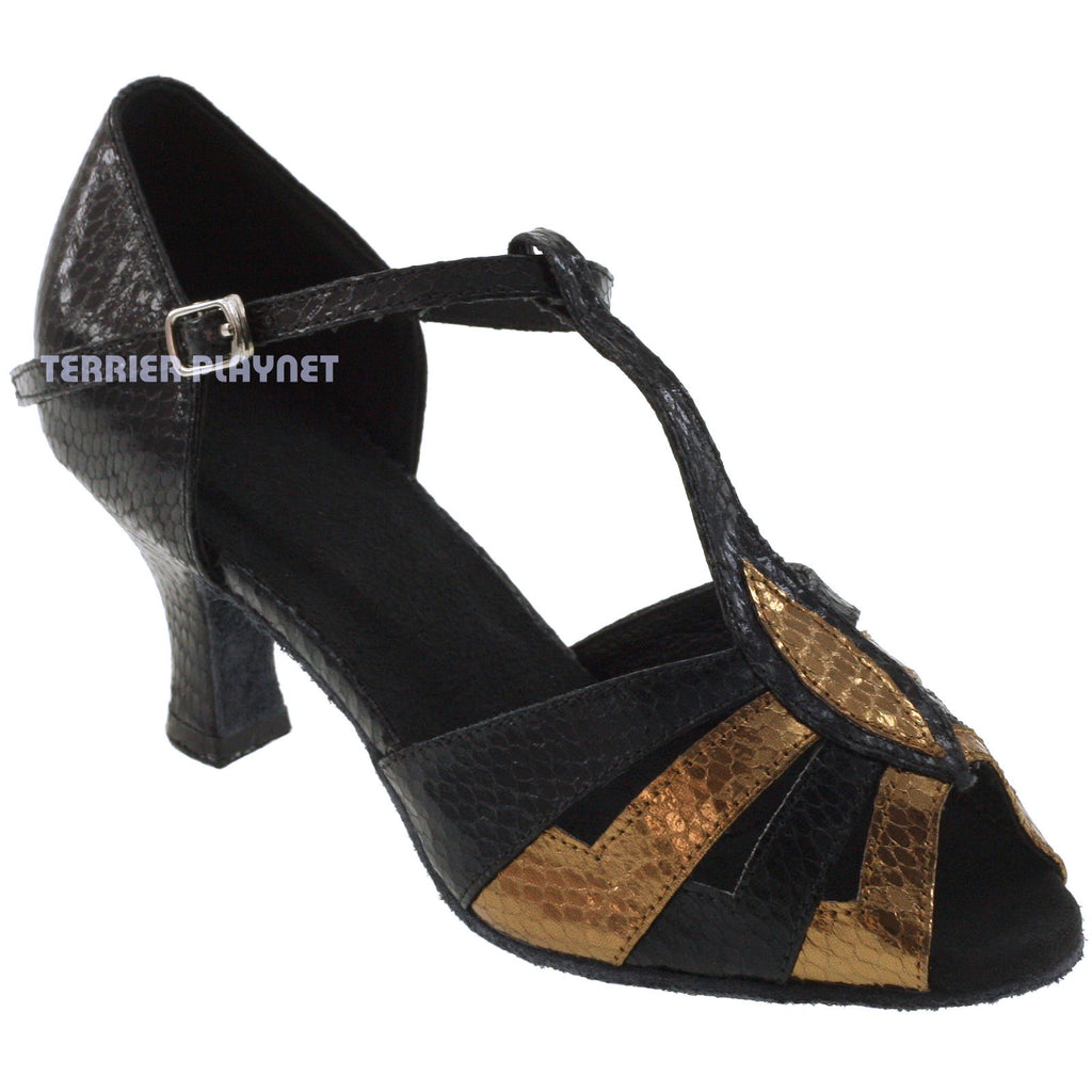 Black & Bronze Women Dance Shoes D115 UK3.5/US6/EU36 1.5 Inches / 3.75cm Heel - Terrier Playnet Shop