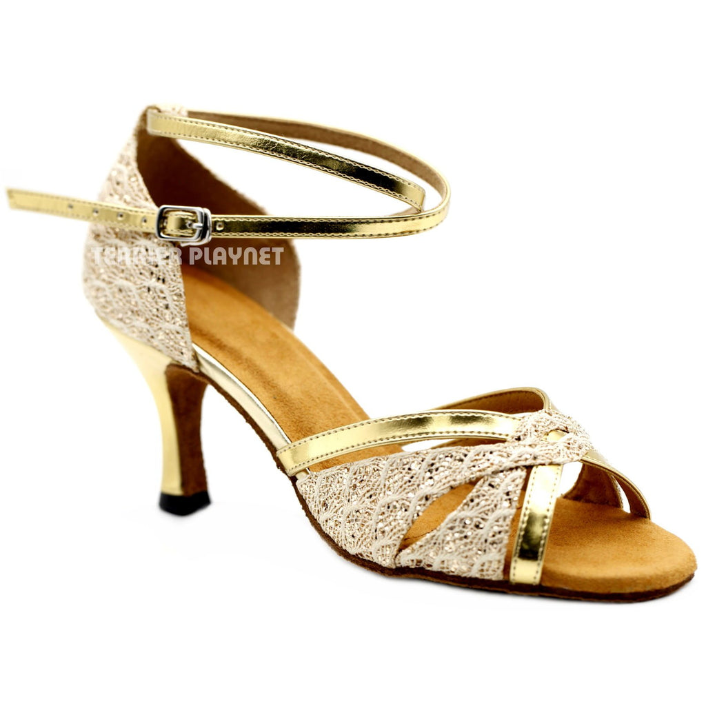 Light Gold Women Dance Shoes D1165 UK5.5/US8/EU39 3 Inches / 7.5cm