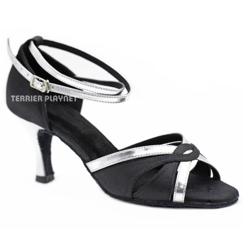 Black & Silver Women Dance Shoes D1166 UK5.5/US8/EU39 3 Inches / 7.5cm