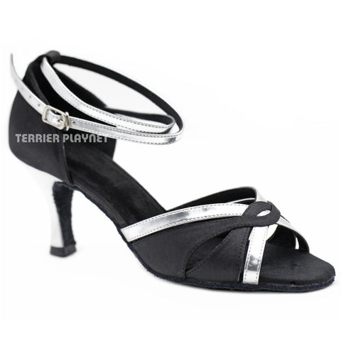 Black & Silver Women Dance Shoes D1166