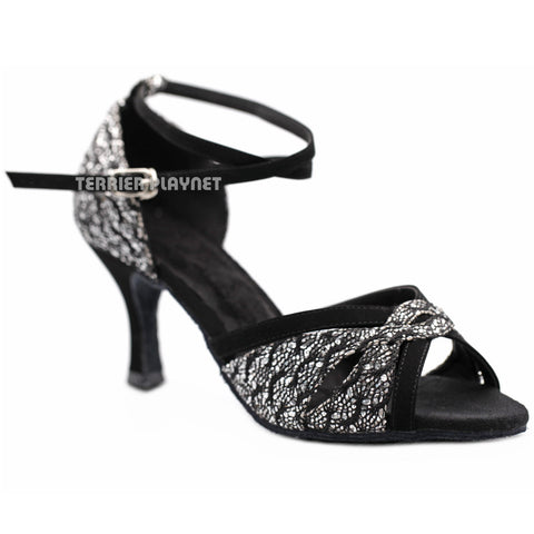 Black & Silver Women Dance Shoes D1168