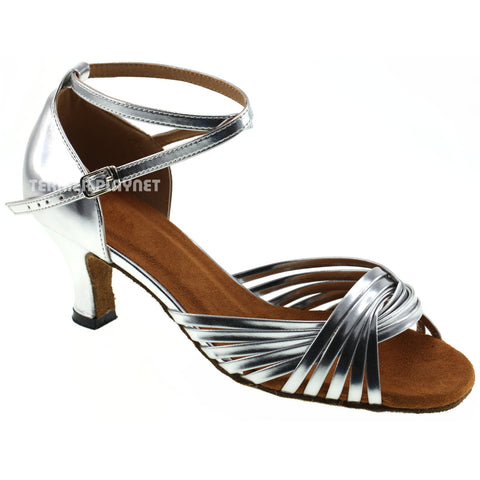 Silver Women Dance Shoes D116 UK2/US4.5/EU34 3.25 Inches / 8.25cm Heel