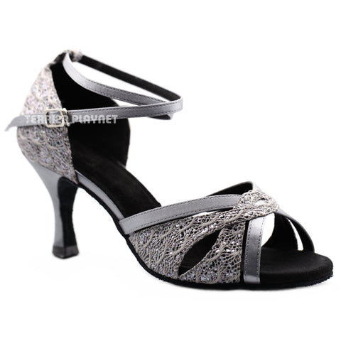 Silver Gray Women Dance Shoes D1170
