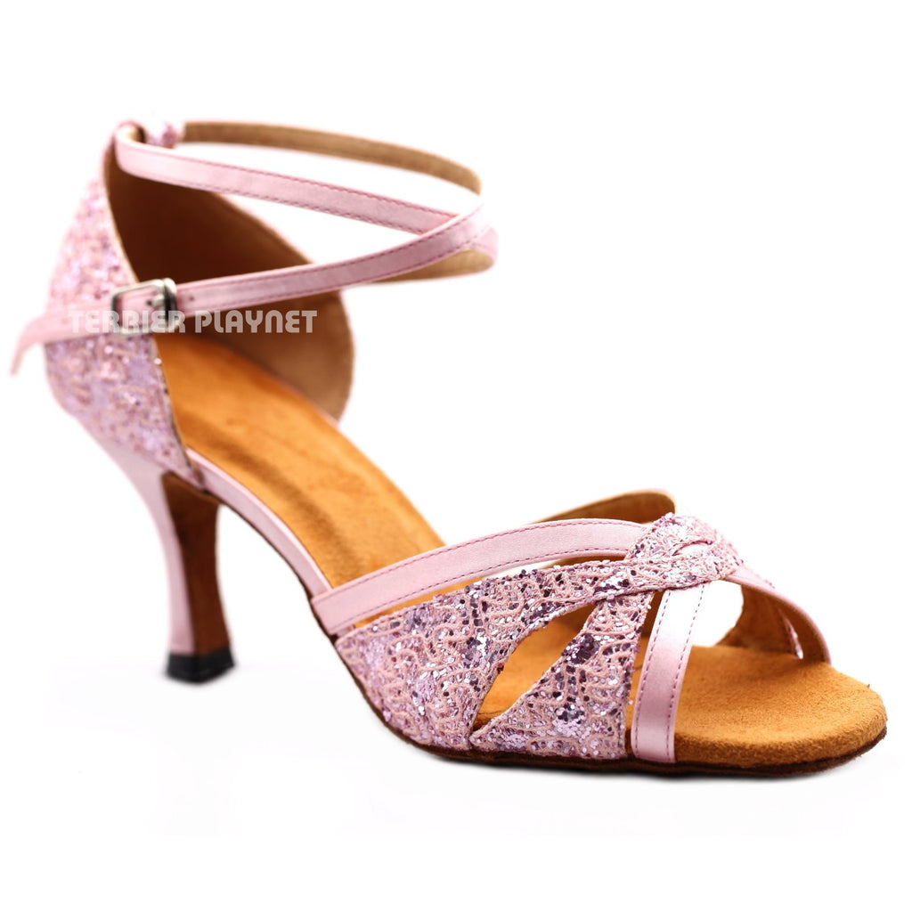 Pink Women Dance Shoes D1171 UK5.5/US8/EU39 3 Inches / 7.5cm
