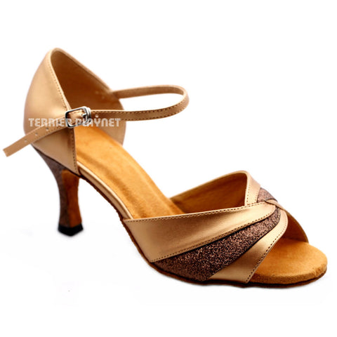 Light Bronze & Brown Women Dance Shoes D1174 UK5.5/US8/EU39 3 Inches / 7.5cm