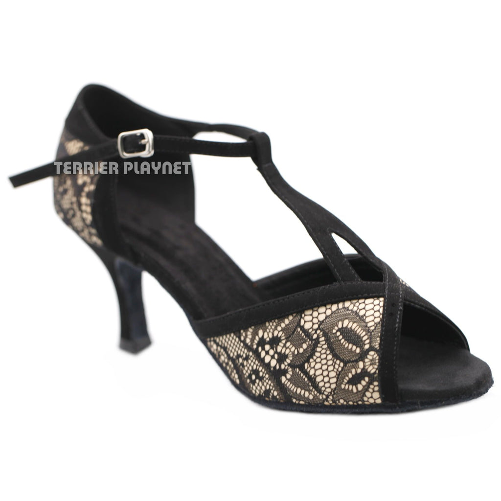 Cream & Black Lace Women Dance Shoes D1179 UK6/US8.5/EU39.5 3 Inches / 7.5cm - Terrier Playnet Shop