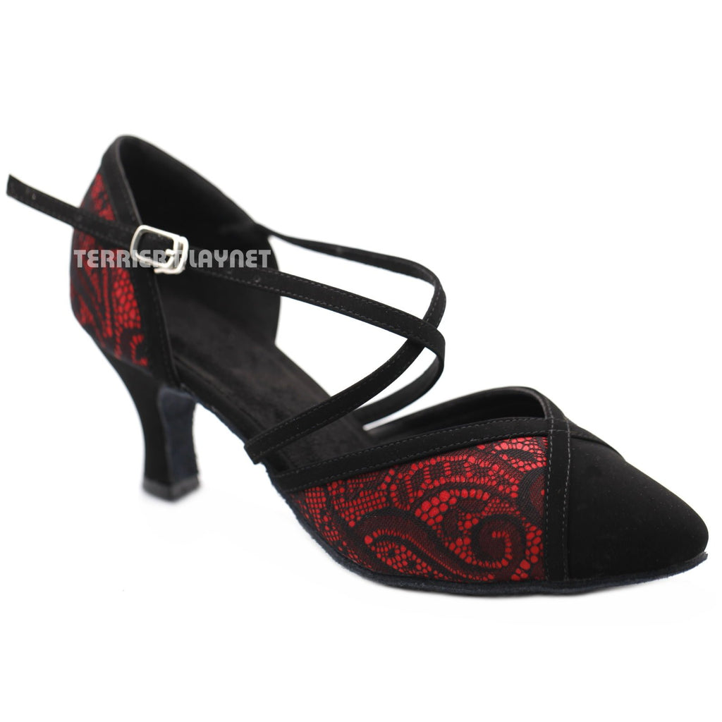 Red & Black Lace Women Dance Shoes D1182 UK5.5/US8/EU39 2.5 Inches / 6.25cm