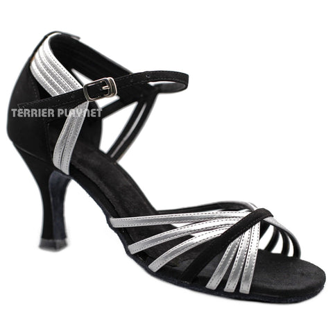 Black & Silver  Women Dance Shoes D1185 UK4.5/US7/EU37.5 2.5 Inches / 6.25cm