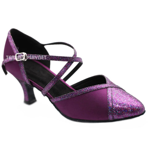 Purple Women Dance Shoes D1188 UK5.5/US8/EU39 2.5 Inches / 6.25cm