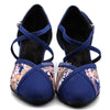 Blue Embroidered Women Dance Shoes D1192 - Terrier Playnet Shop
