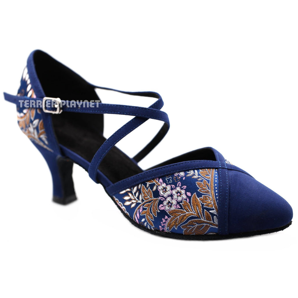 Blue Embroidered Women Dance Shoes D1192 UK6/US8.5/EU39.5 2.5 Inches / 6.25cm - Terrier Playnet Shop