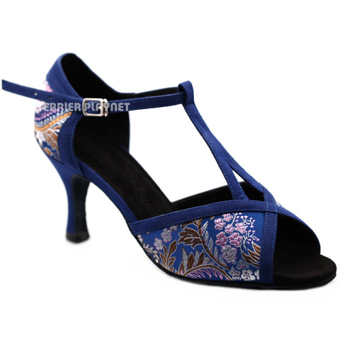 Blue Embroidered Women Dance Shoes D1193