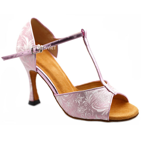 Pink Women Dance Shoes D1195 UK5.5/US8/EU39 3.75 Inches/9.5cm Heel