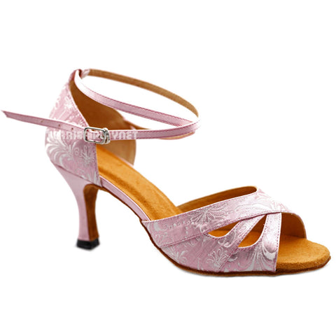 Pink Women Dance Shoes D1196 UK5.5/US8/EU39 3 Inches/7.5cm Heel