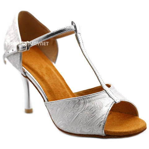 White & Silver Women Dance Shoes D1197 UK5.5/US8/EU39 3.35 Inches/8.5cm Heel